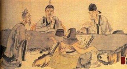 古代手绘下棋画