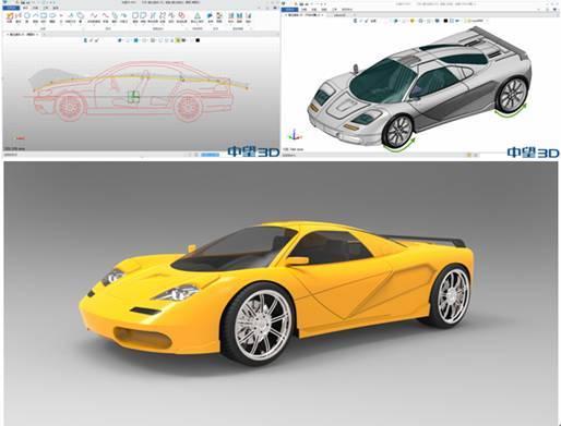用中望3d完成跑车的草图设计,造型设计,装配动画,后期渲染   在产品